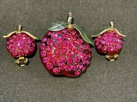 Vintage Genuine Forbidden Fruit Pin and Earrings Set Plums