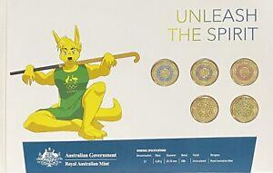 2020 Tokyo Olympic Coloured $2 Dollar Royal Aust Mint 5 Coins Set Hockey Roo
