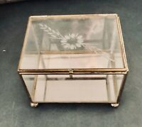 Vintage Etched Glass & Brass Trinket Jewelry Box: Rectangular w Mirror Bottom