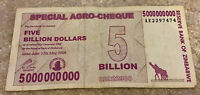 Zimbabwe Banknote. 5 Billion Dollars. Dated 2008. 5,000,000,000 Dollars. P61.