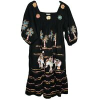 Sante Kaftan Muu Muu Long Cover Up Dress One Size Pockets Elephants Wearable Art
