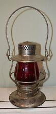 Elgin Joliet & Eastern Railroad Embossed Tall Red Cast Globe Lantern