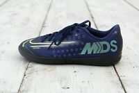 NIKE Mercurial Boys Girls Size 2.5Y Aqua Blue Indoor Soccer Cleat Shoes