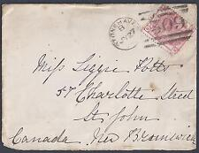 UK GB CANADA 1874 STONE HAVEN TO NEW BRUNSWICK FRANKED SG 144 PLATE 14 TIED NEIM