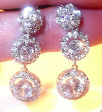 RHODIUM PLATED 925 HALLMARKED SILVER BRILLIANT CUT HALO CLUSTER DROP EARRINGS