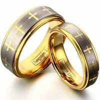 8mm/6mm Tungsten Carbide Gold Cross Men's Women's Band Ring Celtic Design New