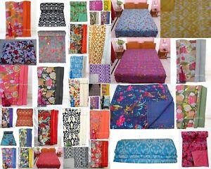 Indian Handmade Cotton Kantha Work Vintage Twin Blanket Bedspreads Quilt Throw