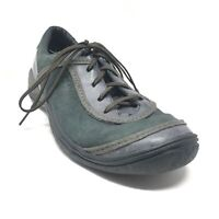 Women's Merrell Cyprus Casual Shoes Sneaker Size 8 Green Gray Leather Lace Up Q7