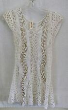 Shoreline Crochet long White Gold chain Top Women's Size S/M GORGEOUS
