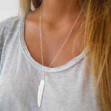 Women Silver Plated Long Necklace Simple Leaf Feather Charm Pendant Necklace