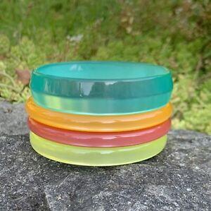 VINTAGE LUCITE MOONGLOW Resin Plastic BANGLE BRACELET LOT SET OF 4