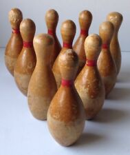 Antique Vintage Wood Child Bowling 10 Pin Set W/An EXTRA Pin