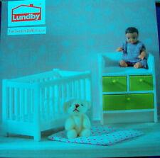 Babybettchen Baby Wickeltisch Puppenhaus Lundby  grün