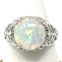 Sparkling White Opal Ring Women Wedding Engagement Jewelry 14K White Gold Plated