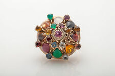 Antique 1940s 7ct Natural Ruby Emerald Garnet 14k Yellow Gold Cocktail Ring RARE