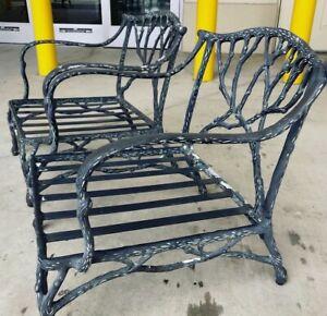 A Pair- Faux Bois Club Chairs