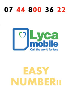 Lyca Sim Card Easy Mobile Number GOLD VIP Fancy '07 44 800 36 22' EASY NUMBER