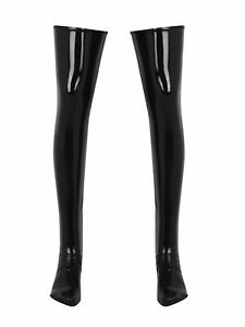 Men&Women Latex Long Stockings Wet Look Thigh High Boots Socks Costume Cosplay