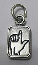 LOOK Solid Sterling Silver 925 Charm Initial Letter L sign language for name New