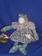 Vintage Wooden Block Country Girl Frog Doll by Wang's International 1996 16inch