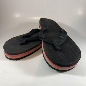 Mens Vintage Chunky 80s Flip Flops Sandals black w red and tan stripes sz11/11.5
