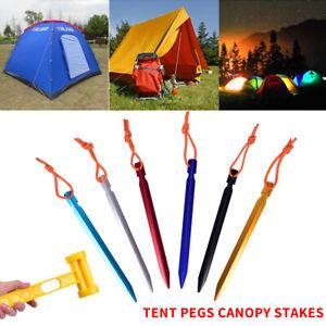 10X Tent Metal Pegs Heavy Duty Aluminium Long Titanium Ground Stakes Camping UK