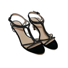 Pelle Moda Womens Size 9M Dress Sandal Abbie 2 SU T-Strap Black Satin/Kid Suede