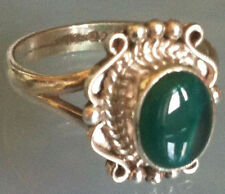 Sterling Silver Handcrafted Ethnic Asian Green Onyx Stone Ring Size R 1/2 Gift