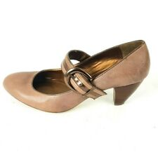 Clarks Ladies Smoky Brown Corn Poppy Leather Mary Jane Heel Shoes UK Size 7 D