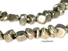 PALAZZO IRON PYRITE GEMSTONE NUGGET GRANULE PEBBLE CHIPS 5MM-6MM LOOSE BEADS 16""