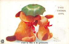 TWO DOGS ONE UMBRELLA PARIS FRANCE ARTIST SIGNED COMIC POSTCARD (c. 1910)