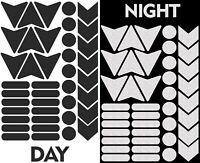 40 Autocollants Réfléchissants Visibilité Stickers Voiture Vélo Casque Moto Noir
