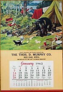 "Bears & Skunk 1962 Advertising Calendar / 14"" x 21"" Poster - Walter M. Baumhofer"