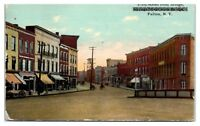 Early 1900s First Street from Bridge, Fulton, NY Postcard