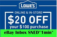 TWO 2x Lowes $20 OFF $100Coupons-Online-/ Instore -FAST--SENT--