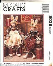 McCalls 8035 HOP TO IT BUNNIES Pair Pattern Easter spring 34 inch UNCUT