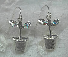 Plant Flower Pot Earrings Silver AB Crystal Fashion Jewelry New