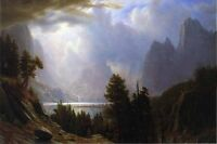 """Hand painted Oil painting Landscape with mountains before storm on canvas 36"""""""