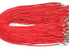 Lot 5/10/20/50Pcs Leather Braid Rope Hemp Cord Lobster Clasp Chain Necklace 46cm