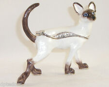 Kingspoint Lady Thiang The Siamese Cat Pewter Bejeweled Hinged Trinket Box