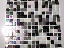 Glasmosaik Fliesen Mosaik PERLMUTTEFFEKT schwarz weiss grau Perlmutt Bad 2,14 qm