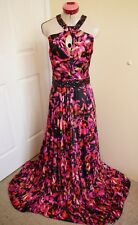 CITY CHIC Black Pink MAXI DRESS Size L 20 Beaded Long Red Cocktail Party Evening