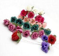 12pcs Small Rose Flower Hair Pins 6 colors Wedding Bridal Flowers