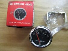 NEW Old stoke-Auto Meter-Oil Pressure Gauge For 6 And 12 Volt Systems - 0-80 PSI