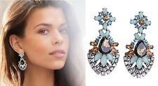 E971 Betsey Johnson Royal Blue Crystal Gemstone Bridal Moon Stone Earrings  US