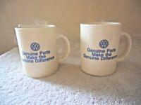 "Vintage Set of 2 "" NOS "" VW Genuine Parts Plastic Advertising Mugs "" BEAUTIFUL """