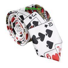 1 x mens ladies skinny tie poker playing card spade diamond narrow thin costume