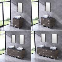 "24""/36""/60""72"" Bathroom Vanity Wood Cabinet Ceramic Porcelain Sink Mirror Combo"