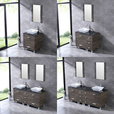 "24""/36""/60""72"" Bathroom Vanity Wood Cabinet Ceramic Porcelain Sink Mirror Combo"