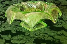 Art Deco Bagley English Equinox Green Glass Bowl w-Frog, Excellent Condition